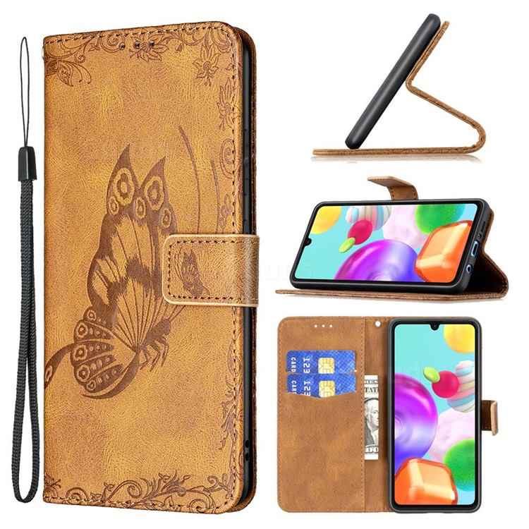 Binfen Color Imprint Vivid Butterfly Leather Wallet Case for Samsung Galaxy A41 - Brown