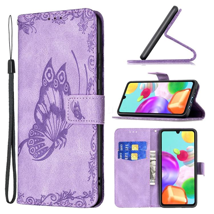 Binfen Color Imprint Vivid Butterfly Leather Wallet Case for Samsung Galaxy A41 - Purple
