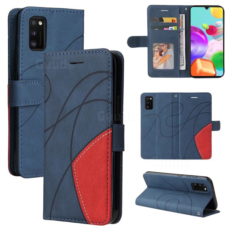 Luxury Two-color Stitching Leather Wallet Case Cover for Samsung Galaxy A41 - Blue