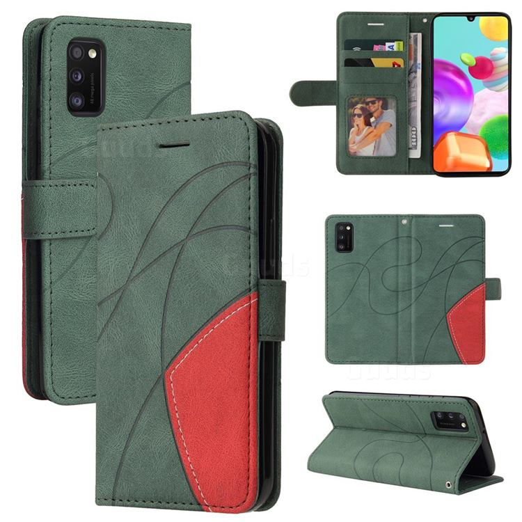 Luxury Two-color Stitching Leather Wallet Case Cover for Samsung Galaxy A41 - Green