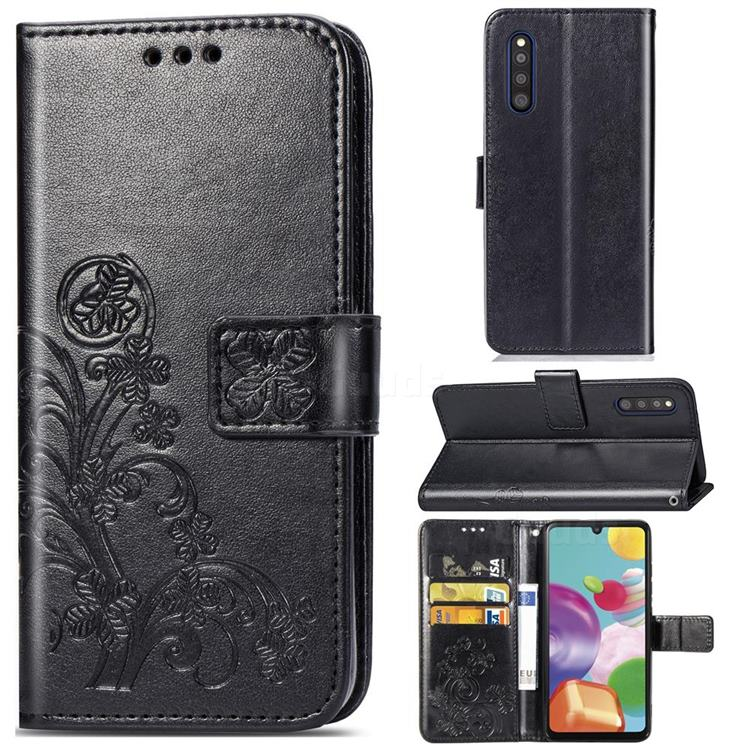 Embossing Imprint Four-Leaf Clover Leather Wallet Case for Samsung Galaxy A41 Japan SC-41A SCV48 - Black