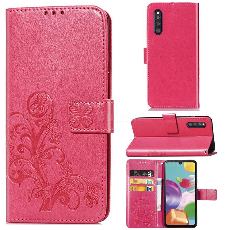 Embossing Imprint Four-Leaf Clover Leather Wallet Case for Samsung Galaxy A41 Japan SC-41A SCV48 - Rose Red