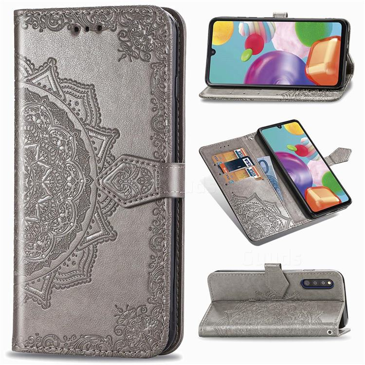 Embossing Imprint Mandala Flower Leather Wallet Case for Samsung Galaxy A41 Japan SC-41A SCV48 - Gray