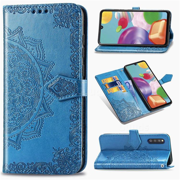 Embossing Imprint Mandala Flower Leather Wallet Case for Samsung Galaxy A41 Japan SC-41A SCV48 - Blue