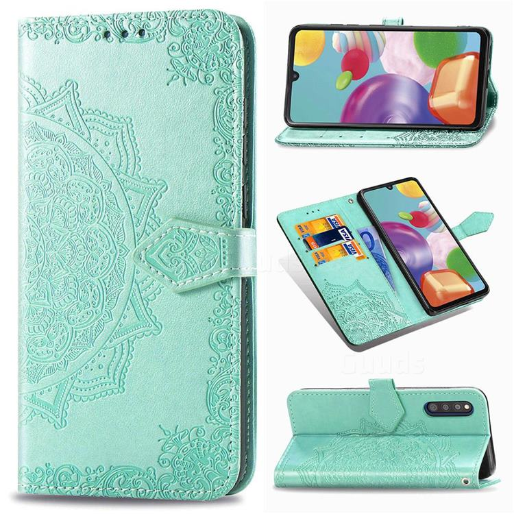 Embossing Imprint Mandala Flower Leather Wallet Case for Samsung Galaxy A41 Japan SC-41A SCV48 - Green