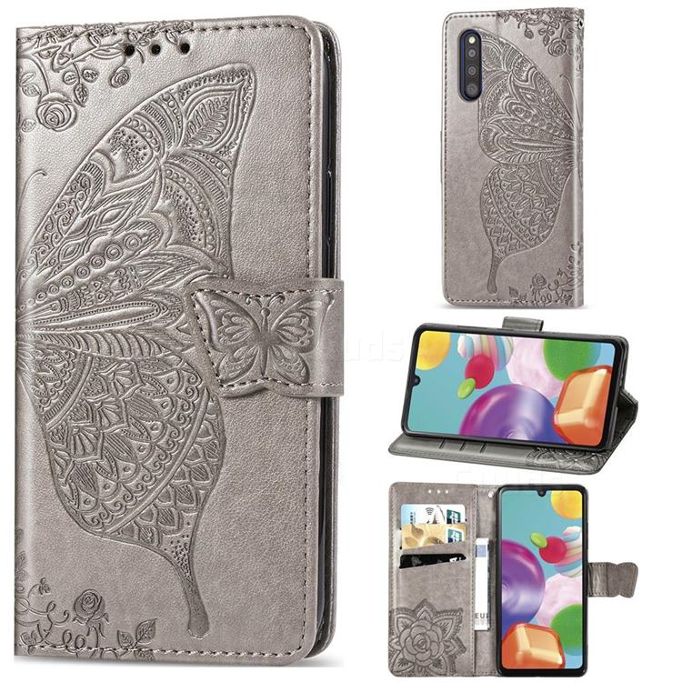 Embossing Mandala Flower Butterfly Leather Wallet Case for Samsung Galaxy A41 Japan SC-41A SCV48 - Gray