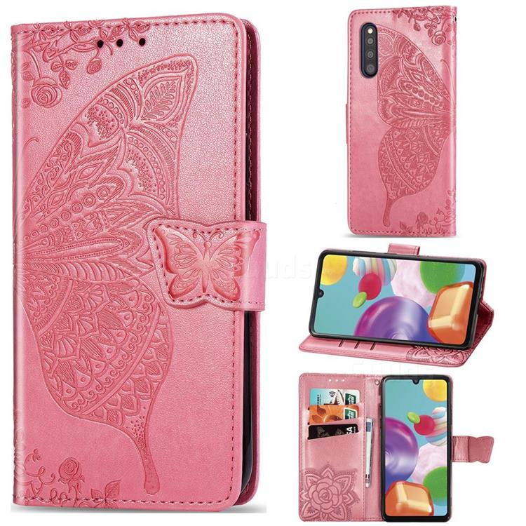 Embossing Mandala Flower Butterfly Leather Wallet Case for Samsung Galaxy A41 Japan SC-41A SCV48 - Pink