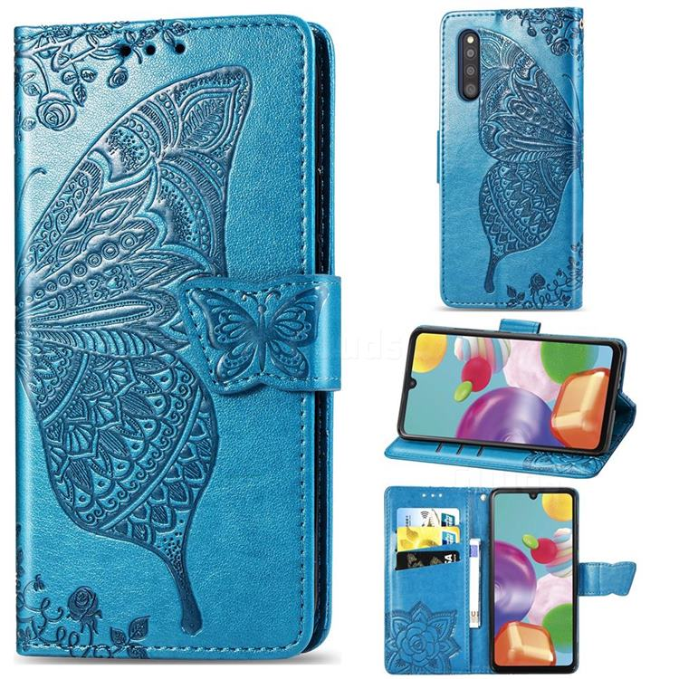 Embossing Mandala Flower Butterfly Leather Wallet Case for Samsung Galaxy A41 Japan SC-41A SCV48 - Blue