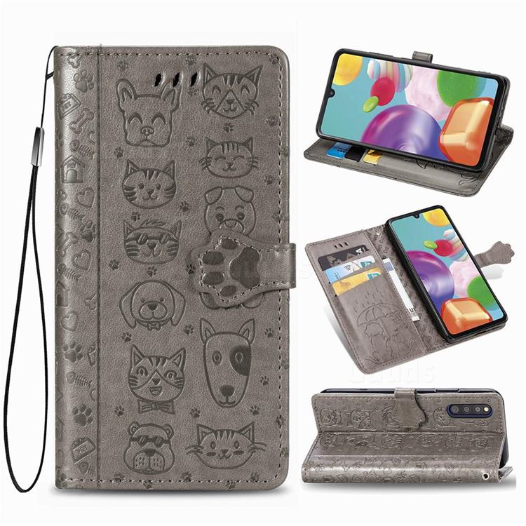Embossing Dog Paw Kitten and Puppy Leather Wallet Case for Samsung Galaxy A41 Japan SC-41A SCV48 - Gray