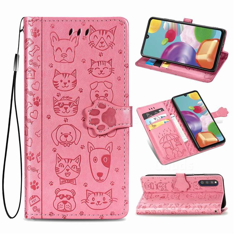 Embossing Dog Paw Kitten and Puppy Leather Wallet Case for Samsung Galaxy A41 Japan SC-41A SCV48 - Pink