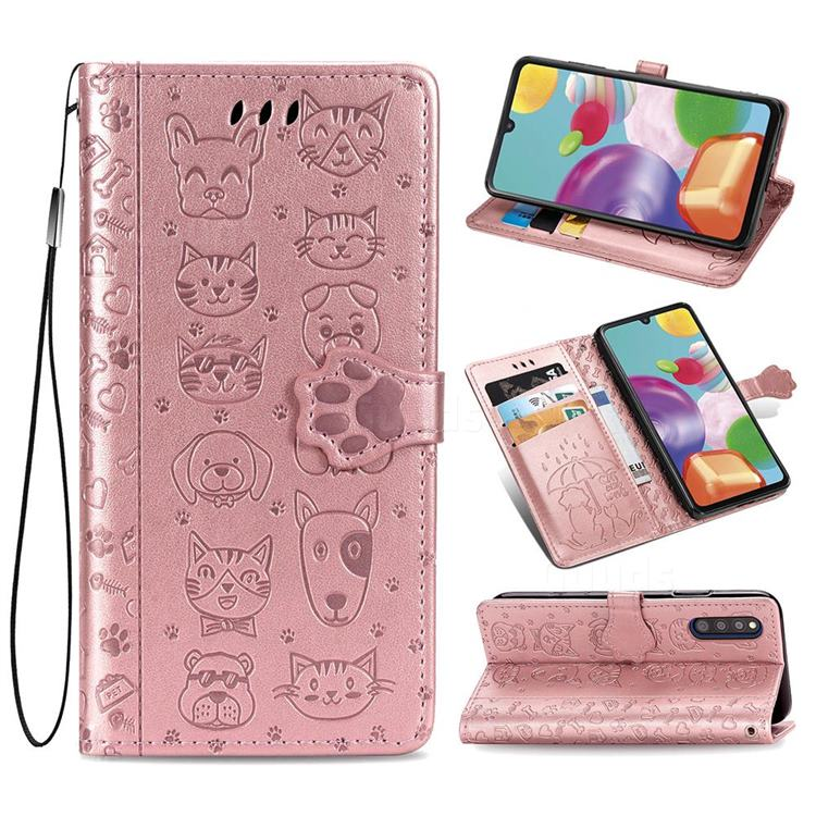 Embossing Dog Paw Kitten and Puppy Leather Wallet Case for Samsung Galaxy A41 Japan SC-41A SCV48 - Rose Gold