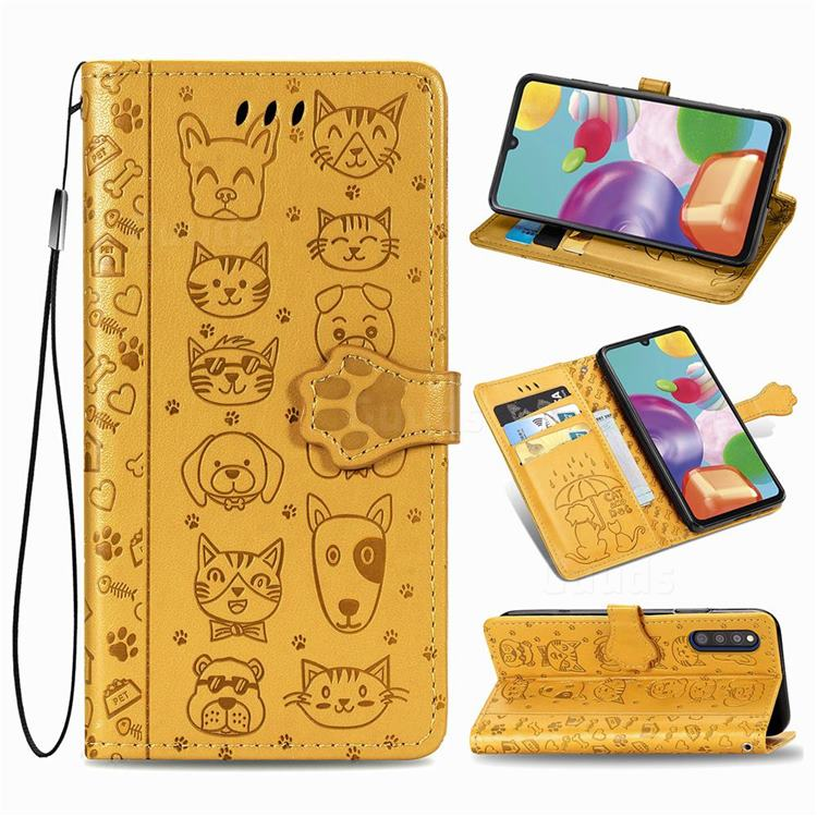 Embossing Dog Paw Kitten and Puppy Leather Wallet Case for Samsung Galaxy A41 Japan SC-41A SCV48 - Yellow