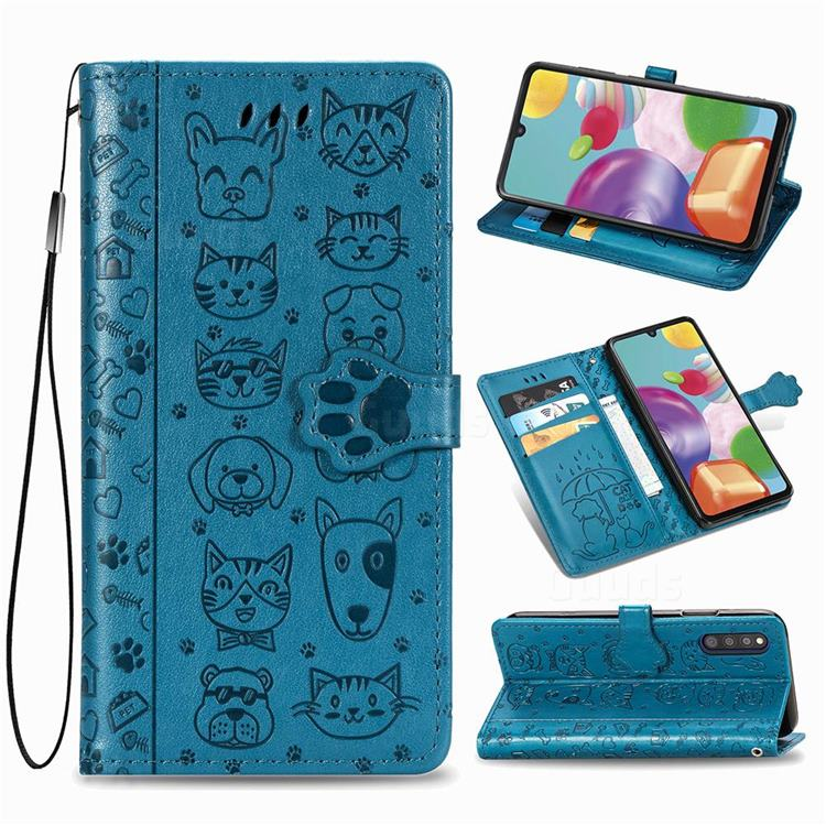 Embossing Dog Paw Kitten and Puppy Leather Wallet Case for Samsung Galaxy A41 Japan SC-41A SCV48 - Blue