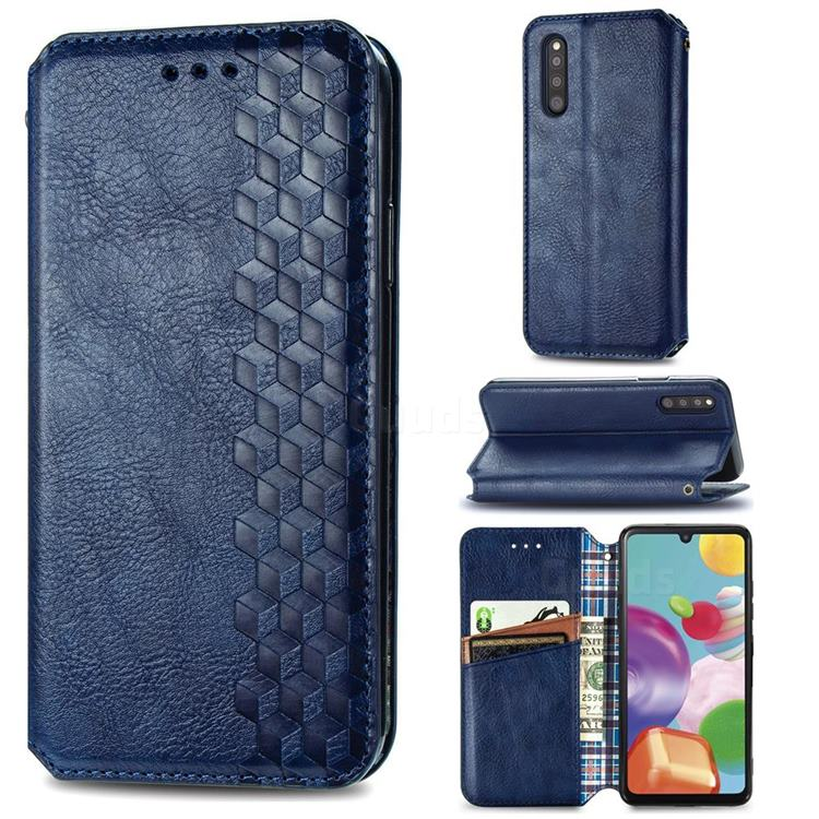 Ultra Slim Fashion Business Card Magnetic Automatic Suction Leather Flip Cover for Samsung Galaxy A41 Japan SC-41A SCV48 - Dark Blue