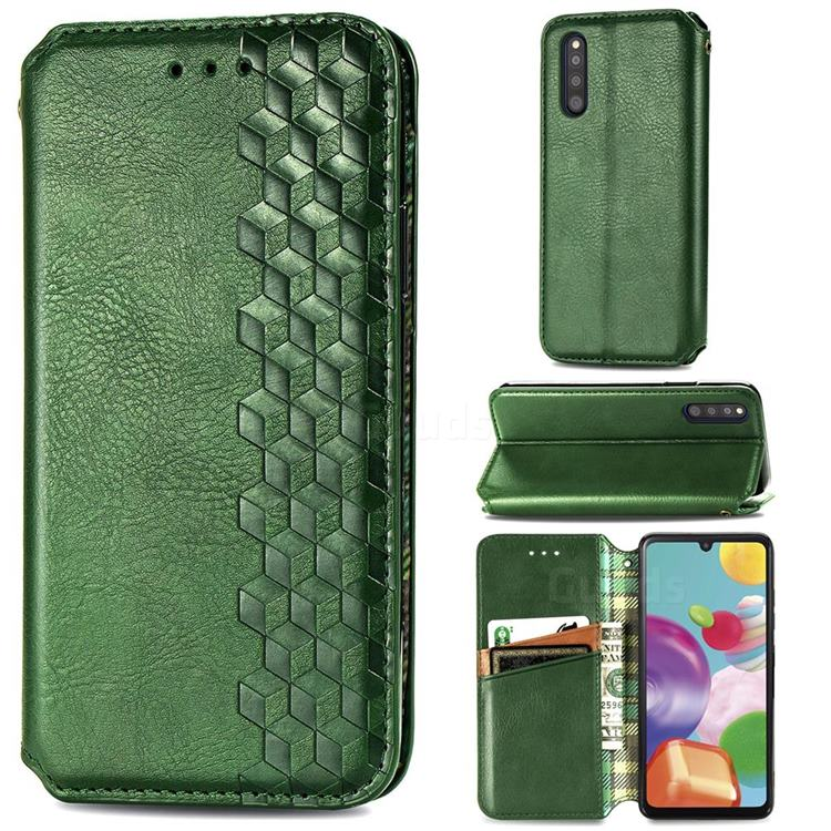 Ultra Slim Fashion Business Card Magnetic Automatic Suction Leather Flip Cover for Samsung Galaxy A41 Japan SC-41A SCV48 - Green