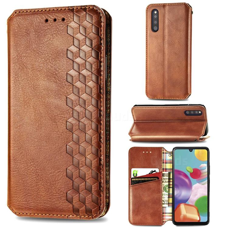 Ultra Slim Fashion Business Card Magnetic Automatic Suction Leather Flip Cover for Samsung Galaxy A41 Japan SC-41A SCV48 - Brown