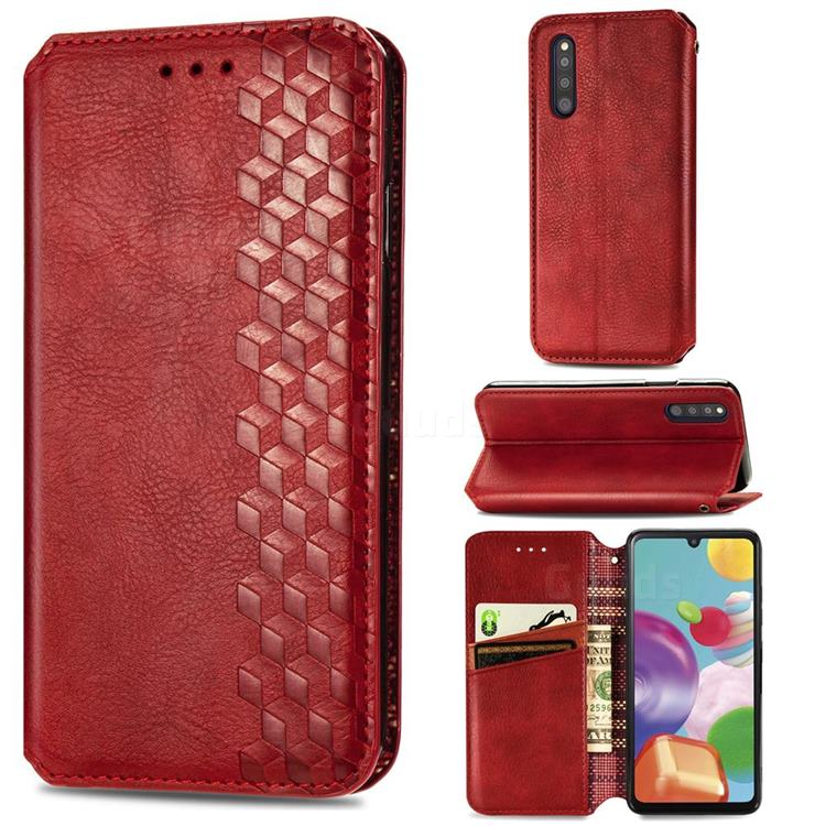 Ultra Slim Fashion Business Card Magnetic Automatic Suction Leather Flip Cover for Samsung Galaxy A41 Japan SC-41A SCV48 - Red