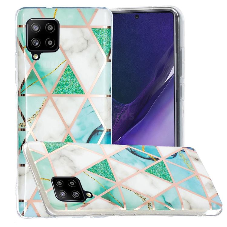 Green White Galvanized Rose Gold Marble Phone Back Cover for Samsung Galaxy A42 5G