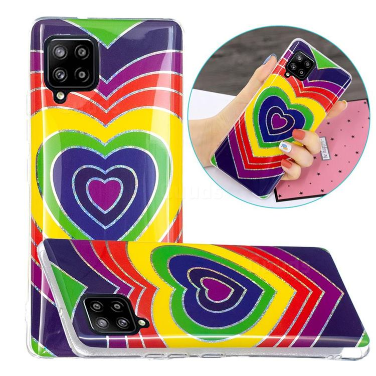Rainbow Heart Painted Galvanized Electroplating Soft Phone Case Cover for Samsung Galaxy A42 5G