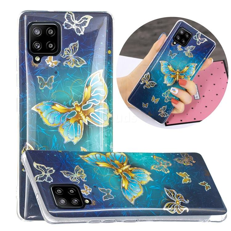 Golden Butterfly Painted Galvanized Electroplating Soft Phone Case Cover for Samsung Galaxy A42 5G