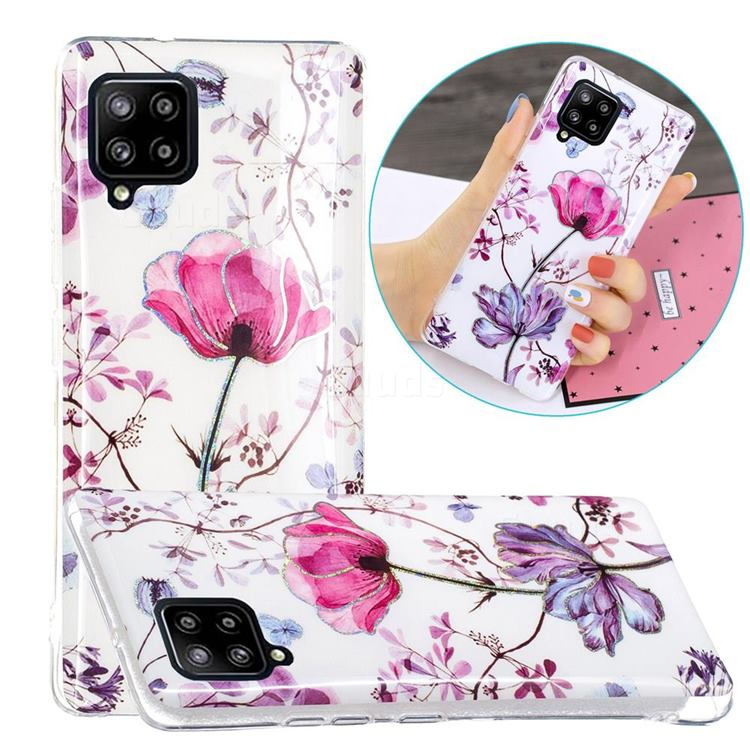 Magnolia Painted Galvanized Electroplating Soft Phone Case Cover for Samsung Galaxy A42 5G