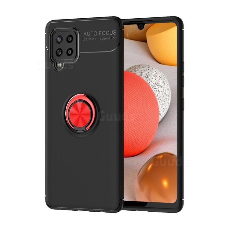 Auto Focus Invisible Ring Holder Soft Phone Case for Samsung Galaxy A42 5G - Black Red