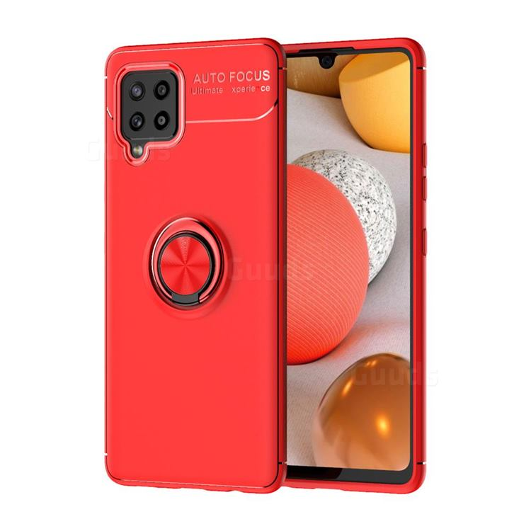 Auto Focus Invisible Ring Holder Soft Phone Case for Samsung Galaxy A42 5G - Red