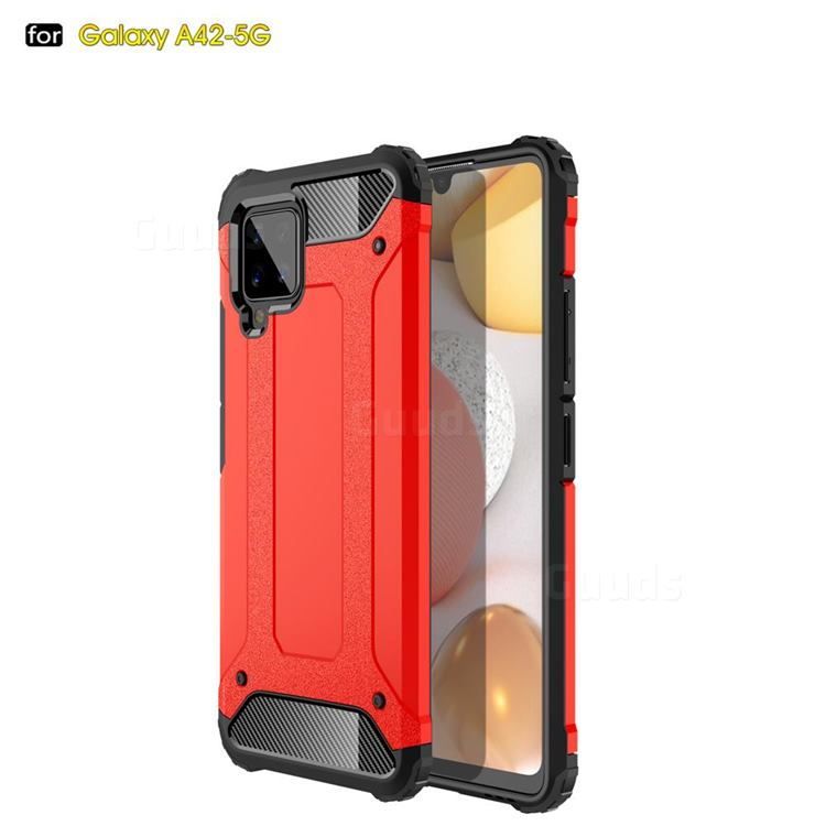 King Kong Armor Premium Shockproof Dual Layer Rugged Hard Cover for Samsung Galaxy A42 5G - Big Red