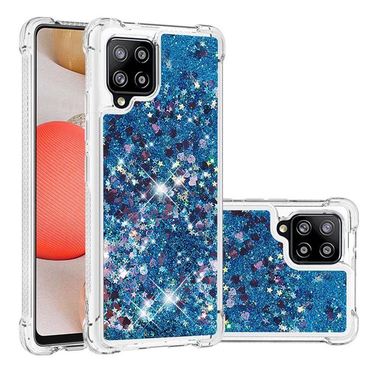 Dynamic Liquid Glitter Sand Quicksand TPU Case for Samsung Galaxy A42 5G - Blue Love Heart