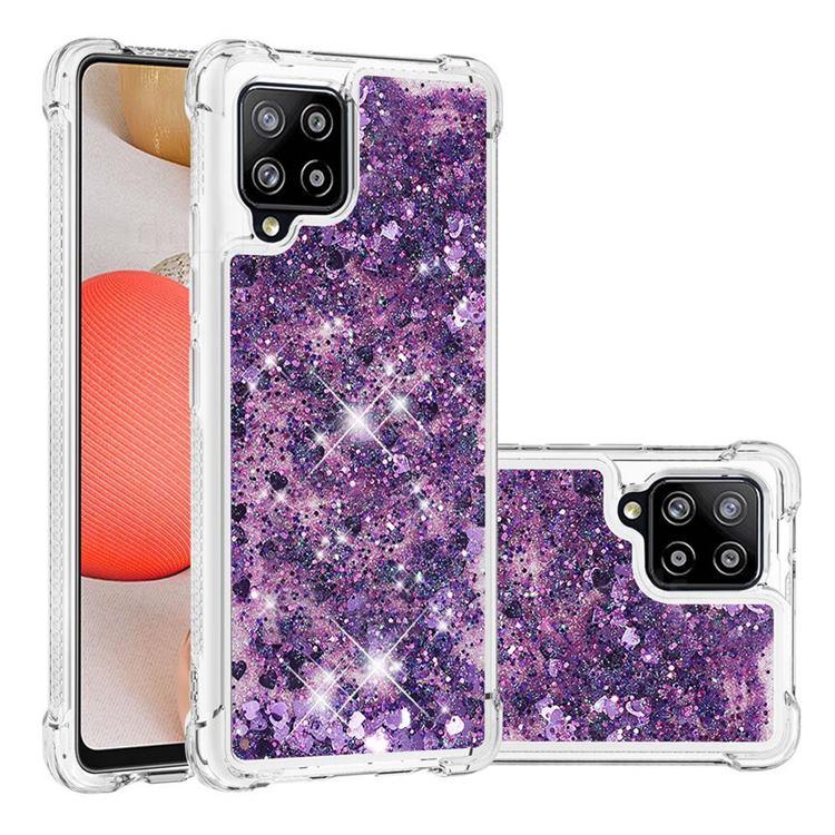 Dynamic Liquid Glitter Sand Quicksand Star TPU Case for Samsung Galaxy A42 5G - Purple