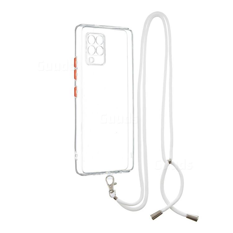 Necklace Cross-body Lanyard Strap Cord Phone Case Cover for Samsung Galaxy A42 5G - Transparent