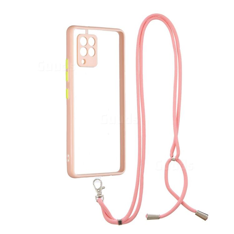 Necklace Cross-body Lanyard Strap Cord Phone Case Cover for Samsung Galaxy A42 5G - Pink