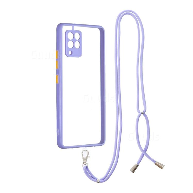 Necklace Cross-body Lanyard Strap Cord Phone Case Cover for Samsung Galaxy A42 5G - Purple