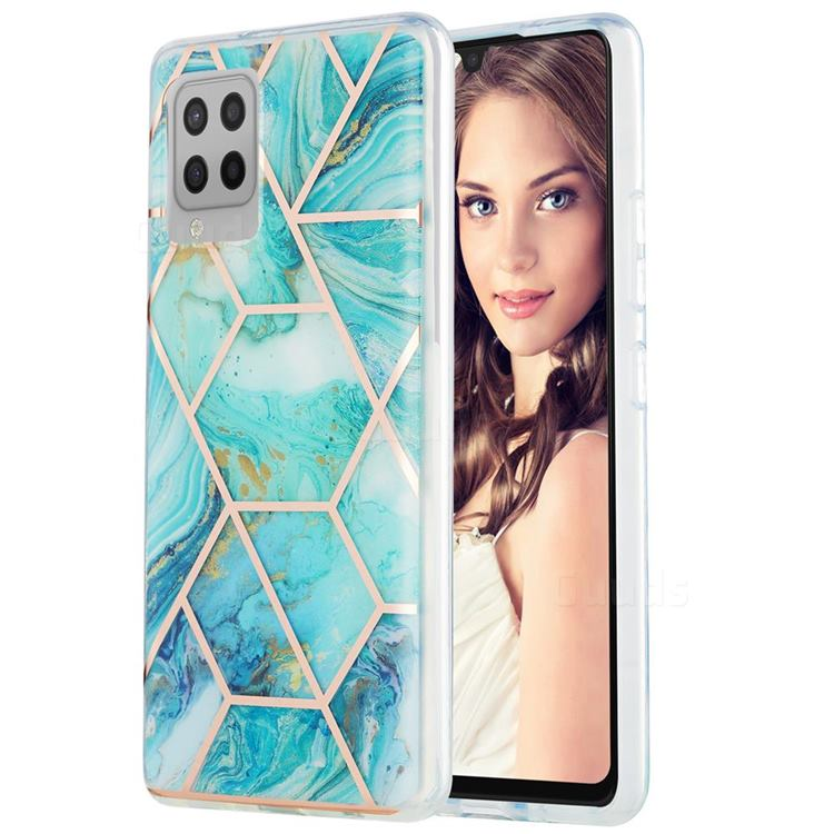 Blue Sea Marble Pattern Galvanized Electroplating Protective Case Cover for Samsung Galaxy A42 5G