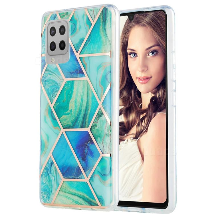 Green Glacier Marble Pattern Galvanized Electroplating Protective Case Cover for Samsung Galaxy A42 5G