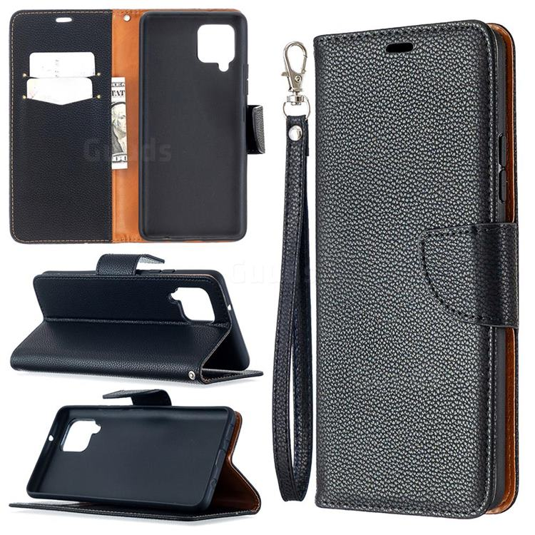 Classic Luxury Litchi Leather Phone Wallet Case for Samsung Galaxy A42 5G - Black