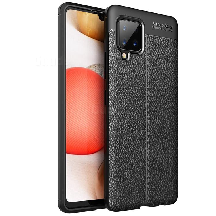Luxury Auto Focus Litchi Texture Silicone TPU Back Cover for Samsung Galaxy A42 5G - Black
