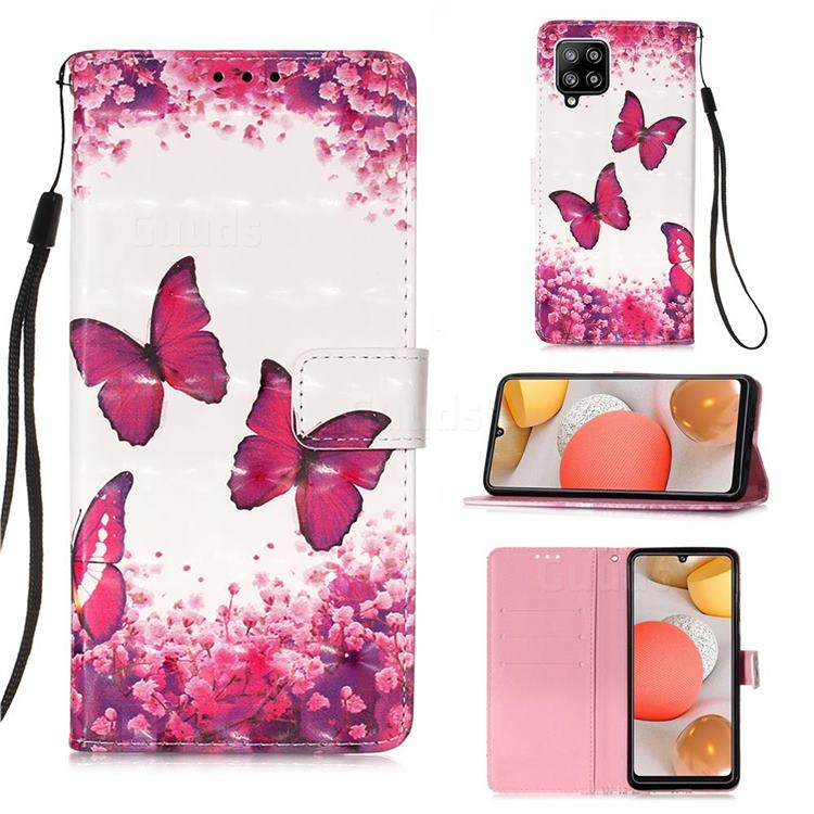 Rose Butterfly 3D Painted Leather Wallet Case for Samsung Galaxy A42 5G