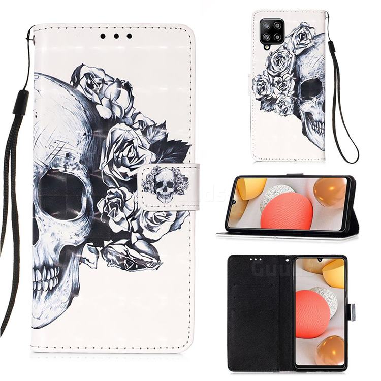 Skull Flower 3D Painted Leather Wallet Case for Samsung Galaxy A42 5G