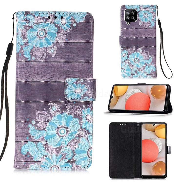 Blue Flower 3D Painted Leather Wallet Case for Samsung Galaxy A42 5G