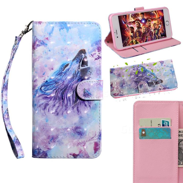 Roaring Wolf 3D Painted Leather Wallet Case for Samsung Galaxy A42 5G