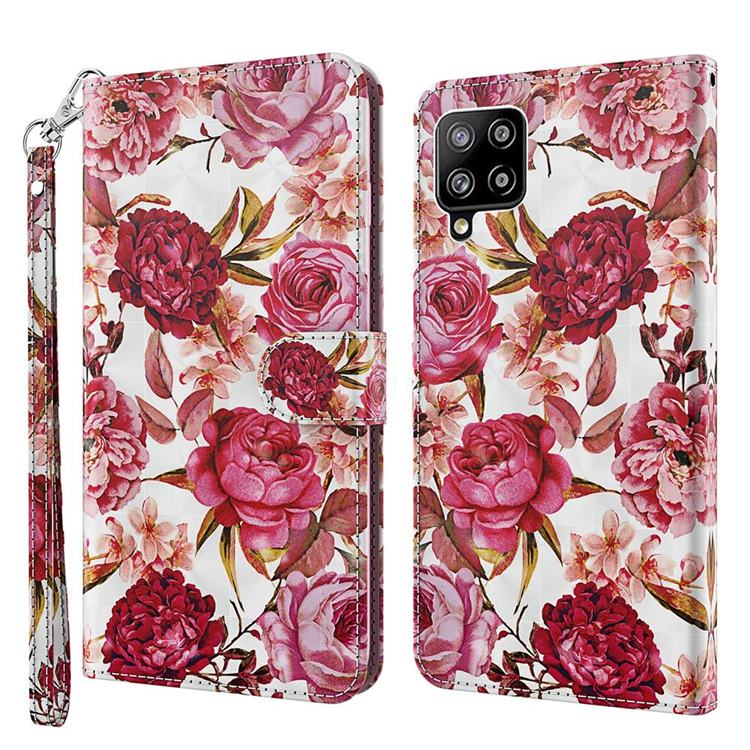 Red Flower 3D Painted Leather Wallet Case for Samsung Galaxy A42 5G