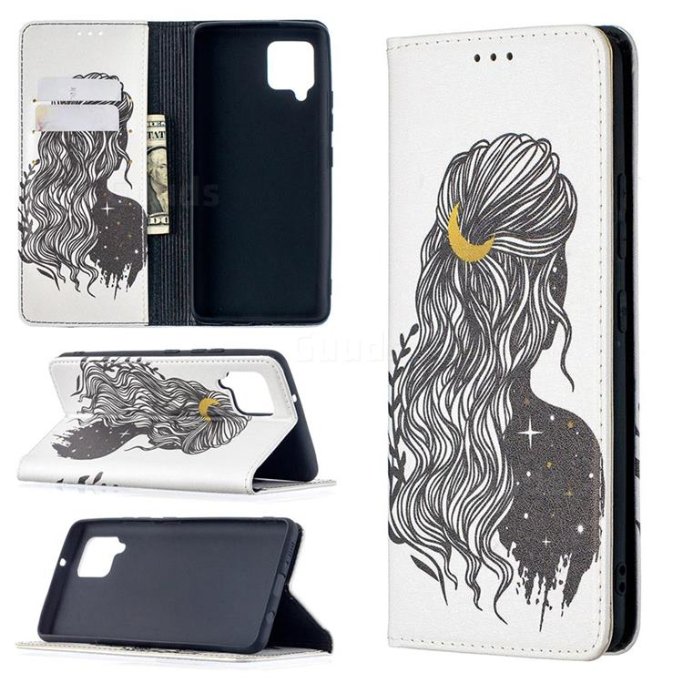 Girl with Long Hair Slim Magnetic Attraction Wallet Flip Cover for Samsung Galaxy A42 5G