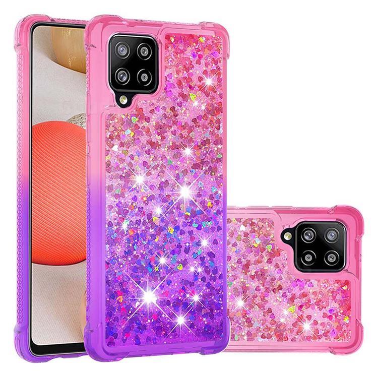 Rainbow Gradient Liquid Glitter Quicksand Sequins Phone Case for Samsung Galaxy A42 5G - Pink Purple
