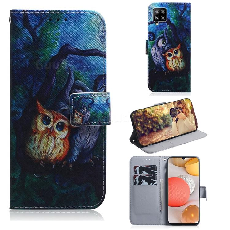 Oil Painting Owl PU Leather Wallet Case for Samsung Galaxy A42 5G