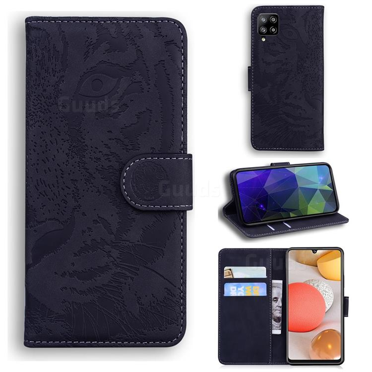 Intricate Embossing Tiger Face Leather Wallet Case for Samsung Galaxy A42 5G - Black