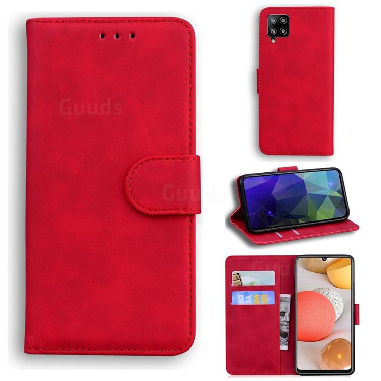 Retro Classic Skin Feel Leather Wallet Phone Case for Samsung Galaxy A42 5G - Red