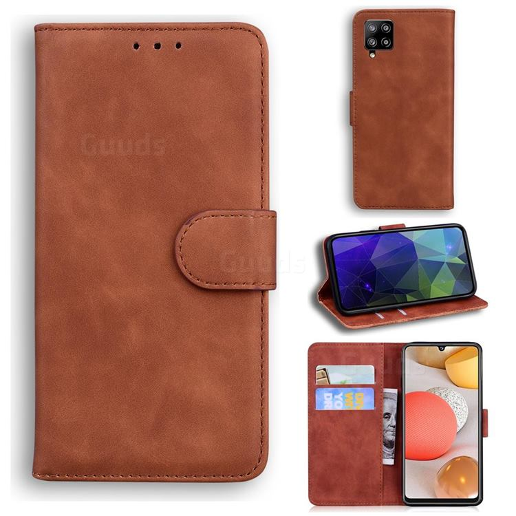 Retro Classic Skin Feel Leather Wallet Phone Case for Samsung Galaxy A42 5G - Brown