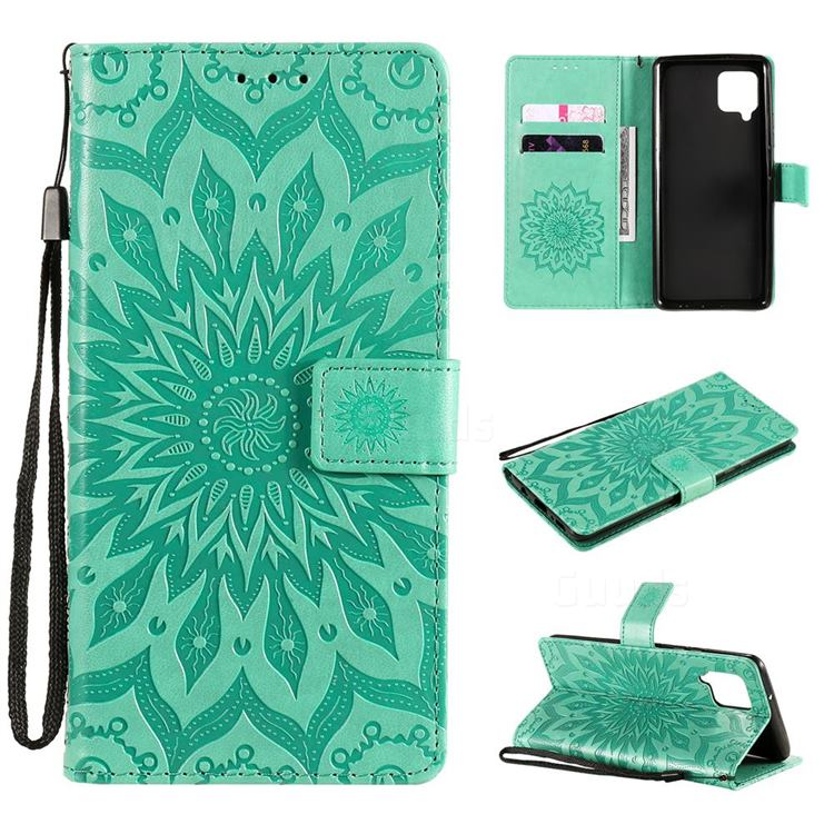Embossing Sunflower Leather Wallet Case for Samsung Galaxy A42 5G - Green