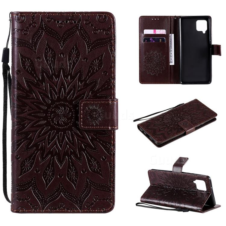 Embossing Sunflower Leather Wallet Case for Samsung Galaxy A42 5G - Brown
